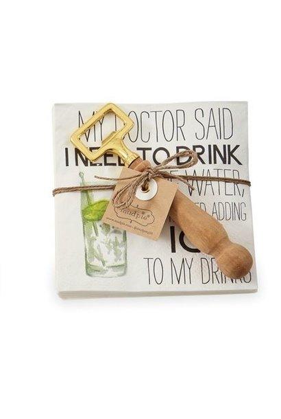 Napkin + Bottle Opener Set My Doctor