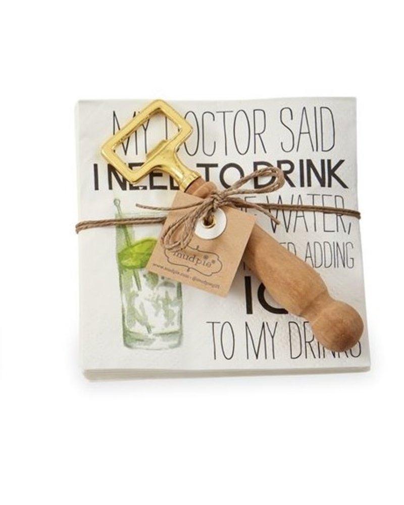 Mud Pie Napkin + Bottle Opener Set My Doctor