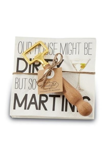 Mud Pie Napkin + Bottle Opener Set Martini