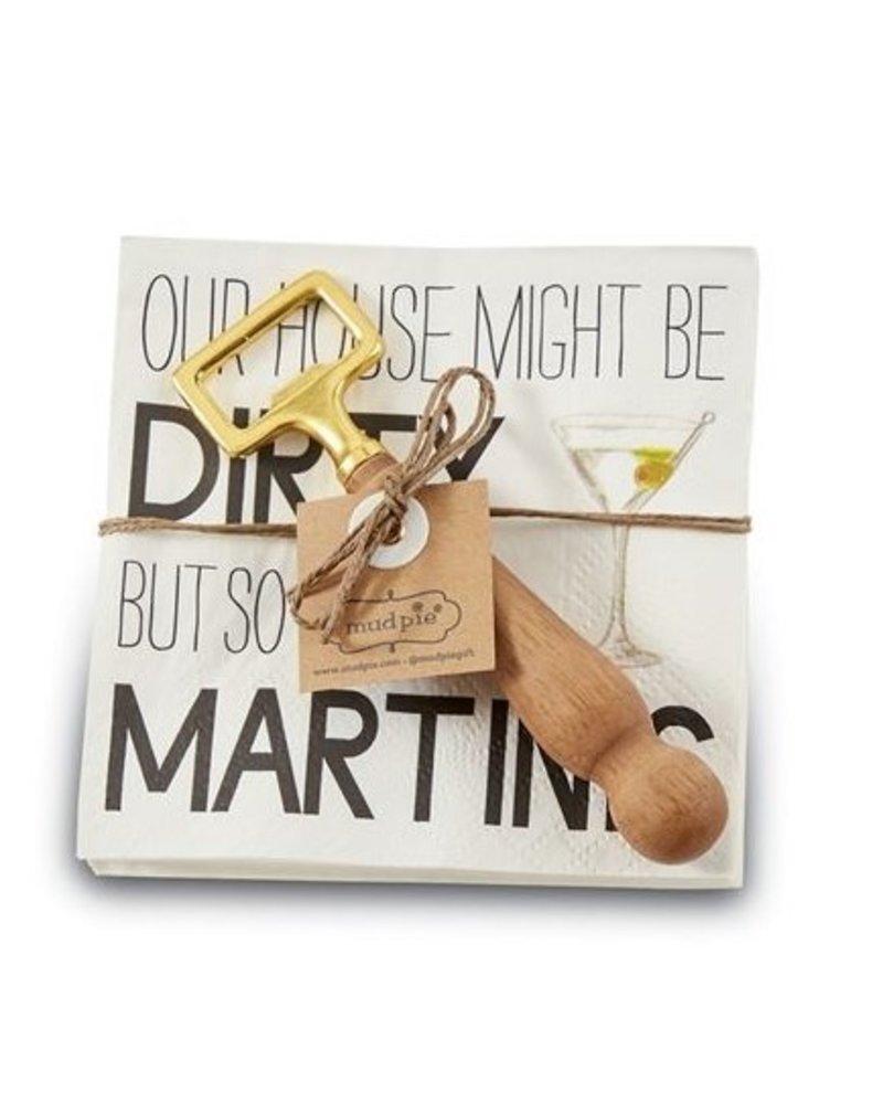 Mud Pie Napkin + Bottle Opener Set Martini