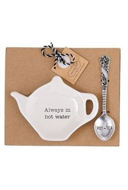 Tea Bag Holder + Spoon Set Hot Water
