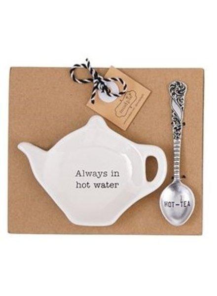 Mud Pie Tea Bag Holder + Spoon Set Hot Water