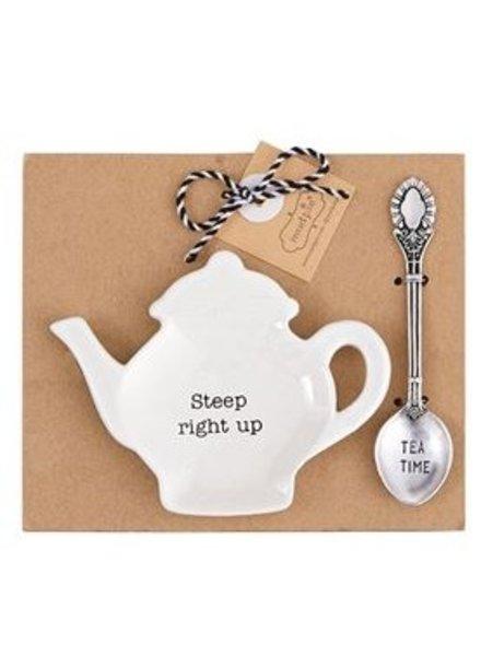 Mud Pie Tea Bag Holder + Spoon Set Steep Right