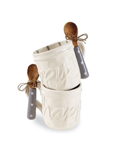 Mud Pie Mug + Spoon Set Happy Script Font