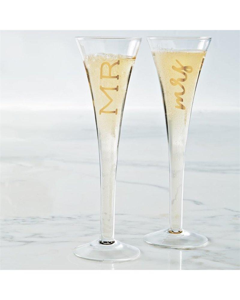 Mud Pie Mr. Mrs. Champagne Glass Set
