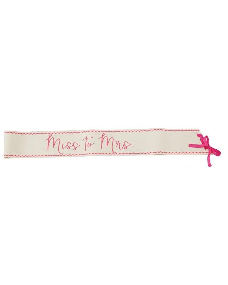 """Mud Pie Bride Sash """"Miss to Mrs."""""""