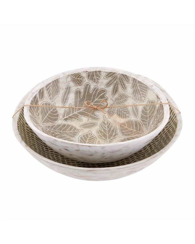 Mud Pie Bowl Set Leaf Enamel
