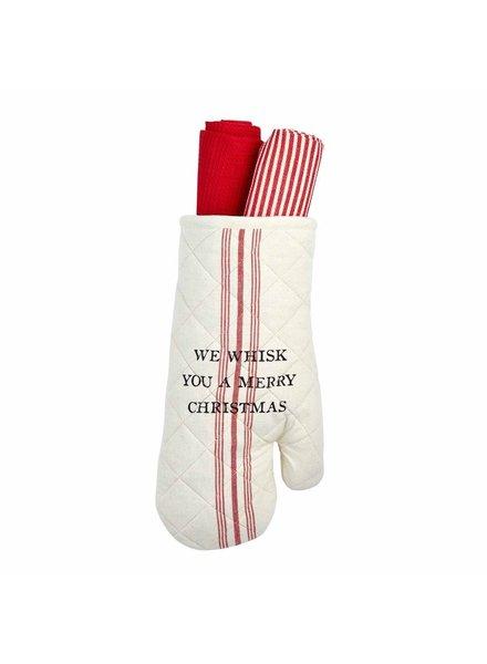 Mud Pie Oven Mitt & Towel Set Whisk
