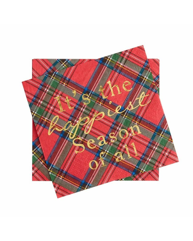 Mud Pie Cocktail Napkin, Tartan Red