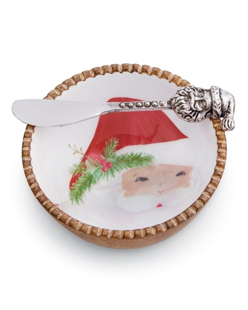 Mud Pie Dip Bowl Set Wood Santa