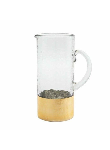 Mud Pie Glass Pitcher Gold Hammered