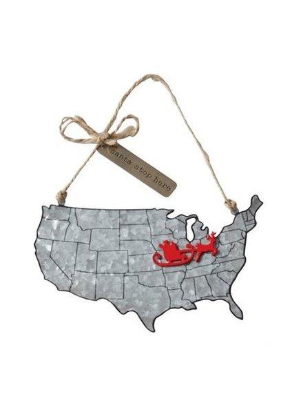 Mud Pie Santa Stop State Tin Ornament