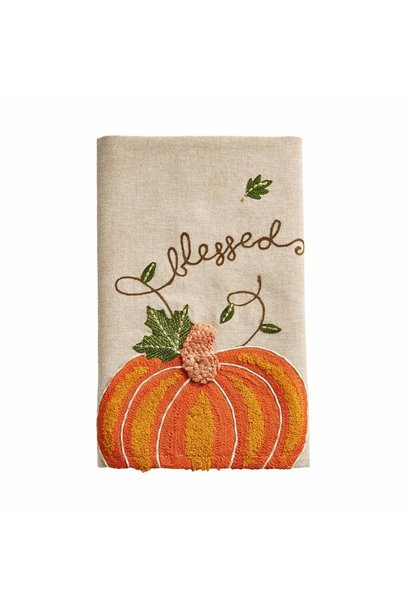 Towel Embroidered Pumpkin Blessed