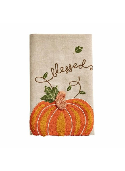Mud Pie Towel Embroidered Pumpkin Blessed