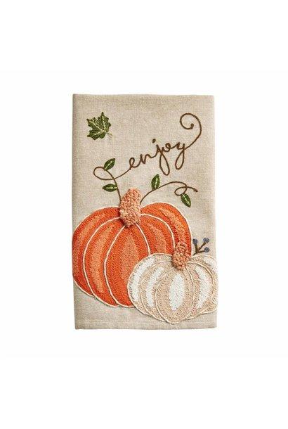 Towel Embroidered Pumpkin Enjoy