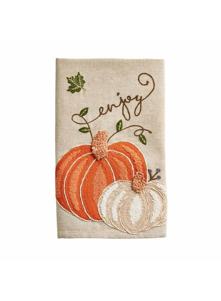 Mud Pie Towel Embroidered Pumpkin Enjoy
