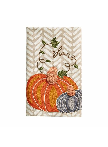 Mud Pie Towel Embroidered Pumpkin Share