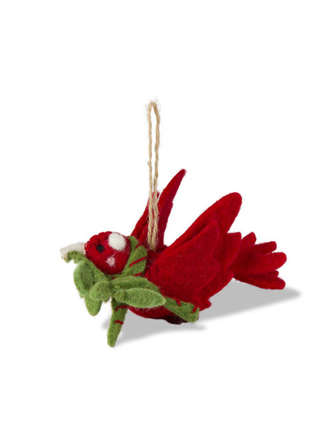 Tag Ornament Bird W/Sprig