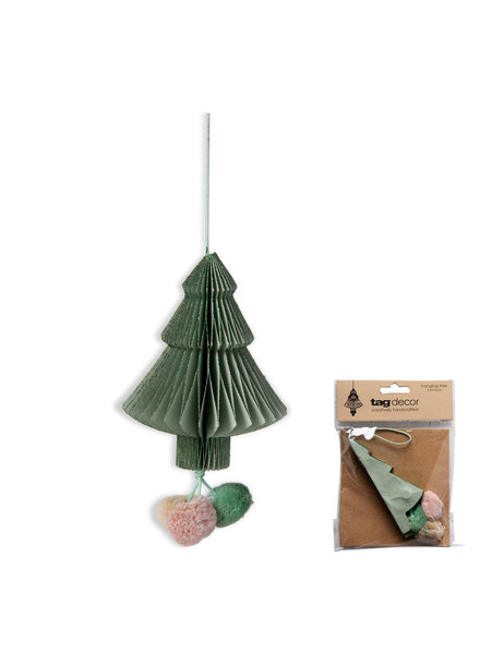 Tag Ornament Paper Tree W/Pom Pom Green