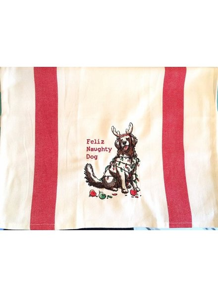 Tag Dish Towel Feliz Naughty Dog