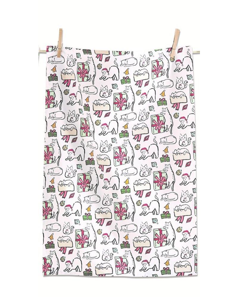 Tag Dish Towel Merry Catmas