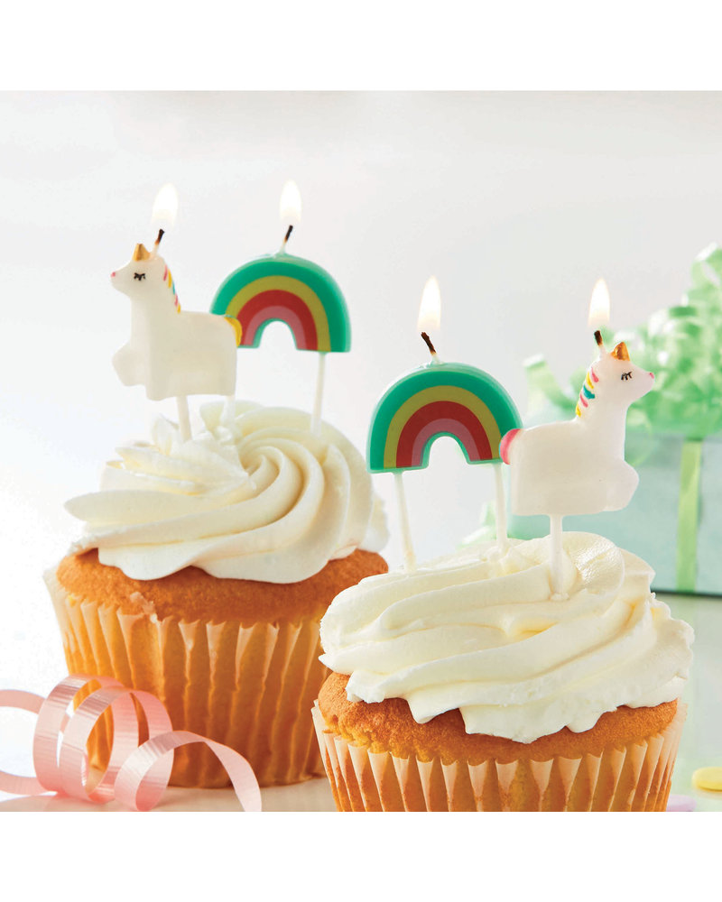 Tag Candles S/4 Unicorn Rainbow