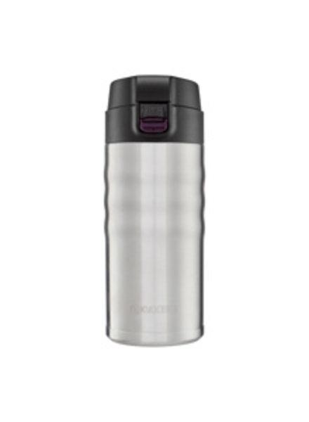 Kyocera 12 oz Ceramic Insulated Travel Mug Flip-Top, Silver