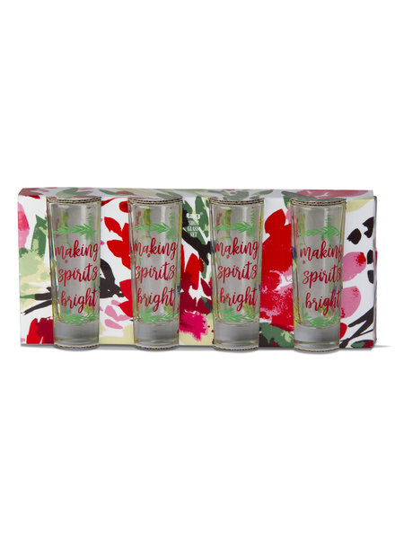 Tag Shot Glass S/4 Making Spirits Bright
