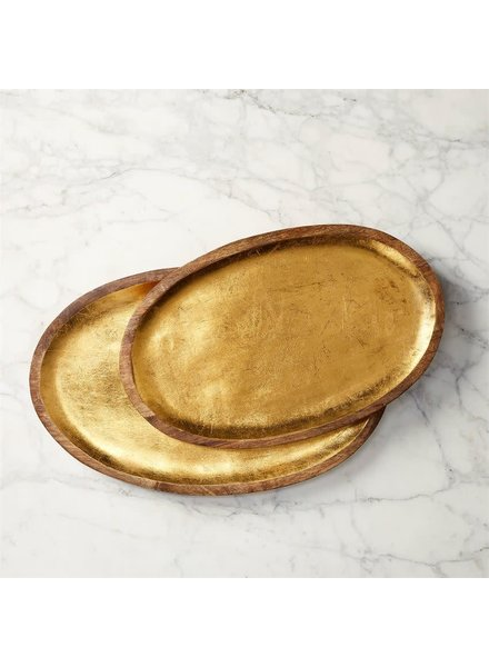 Mud Pie Tray Set Wood With Gold Foil