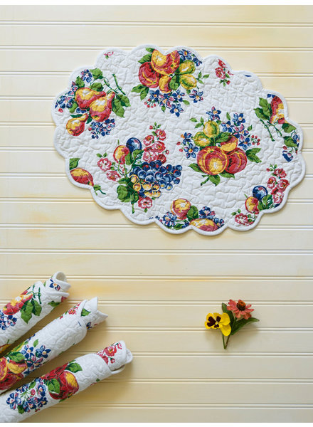 Placemat Quilted Fruit Ecru