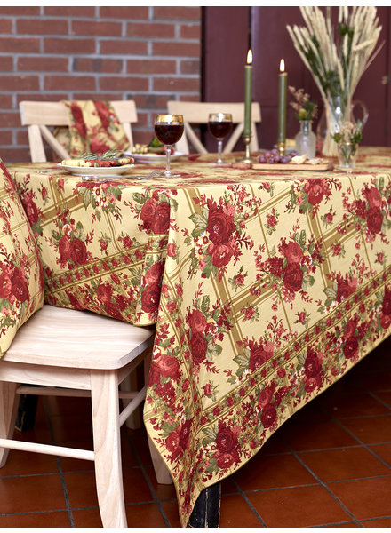 April Cornell Table Cloth 60x108 Cornwall Cottage Gold