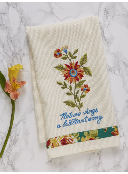 April Cornell Tea Towel Marguerite Embroidered