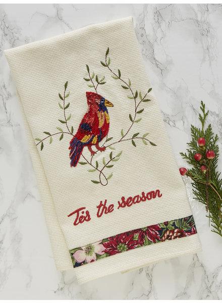 April Cornell Tea Towel Cardinal Embroidered