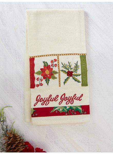 April Cornell Tea Towel Christmas Sampler Embroidered