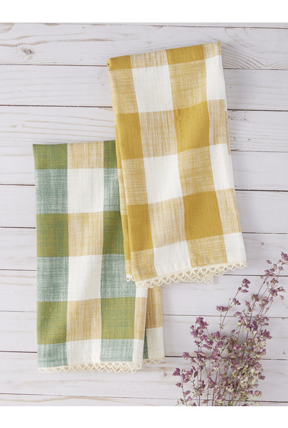 Tea Towel Cottage Check Green/Gold