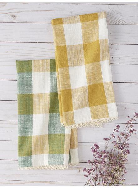April Cornell Tea Towel Cottage Check Green/Gold