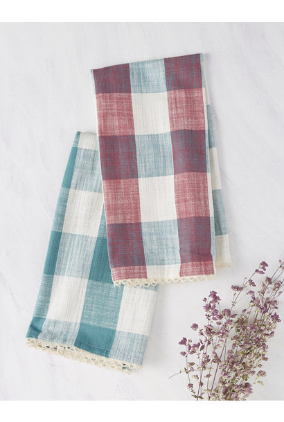 Tea Towel Cottage Check Teal/Magenta