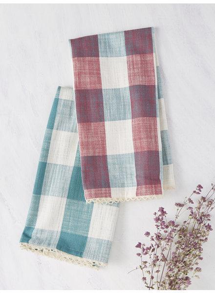April Cornell Tea Towel Cottage Check Teal/Magenta