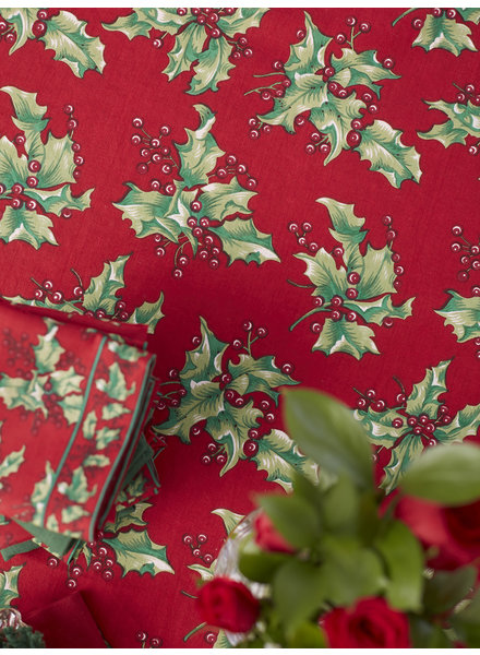 April Cornell Table Cloth 60x90 Holly Red