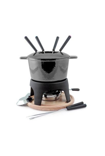 Sierra 11PC Cast Iron Fondue Set - Metallic Black
