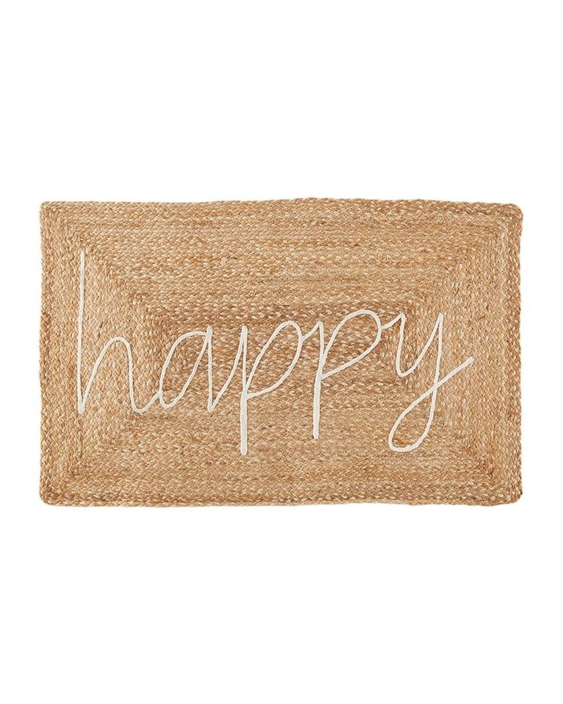 Mud Pie Happy Jute Applique Mat