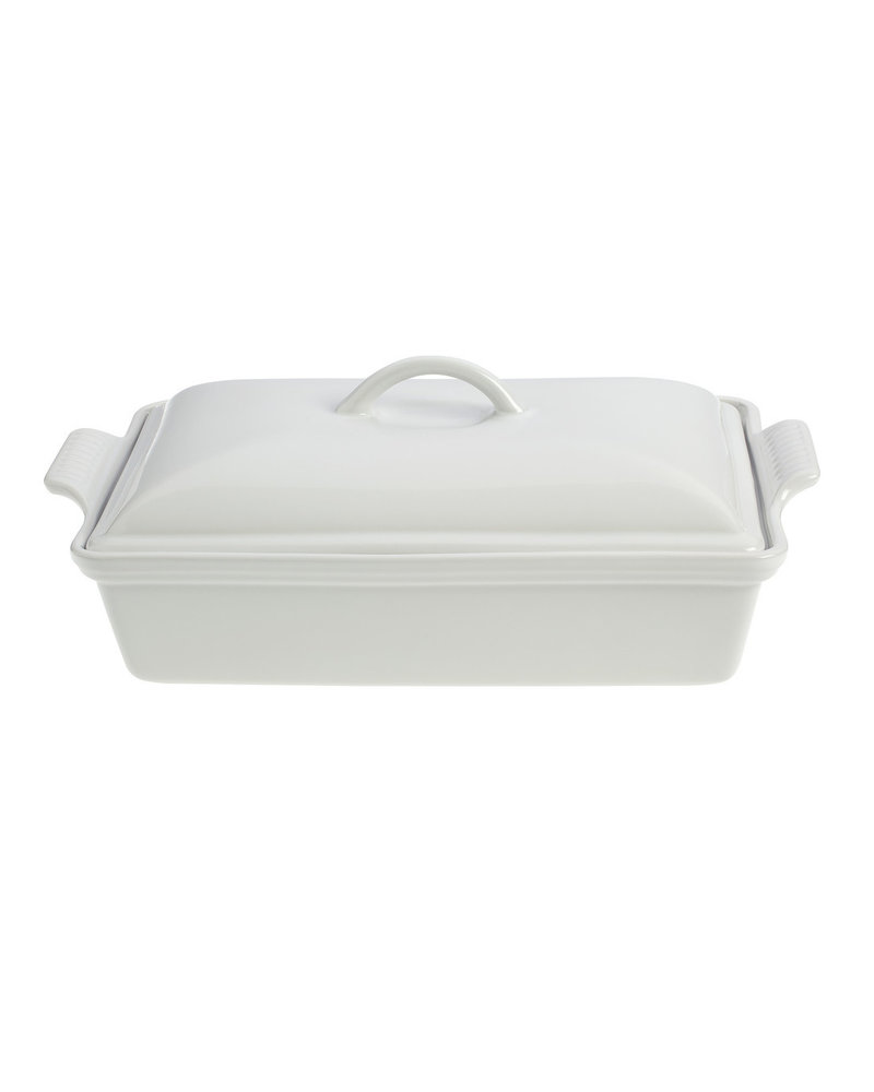 "Le Creuset Heritage Covered Rectangular Casserole 4QT (12"" x 9"") White"