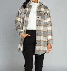 Cest Moi BUTTON DOWN LONG PLAID COAT