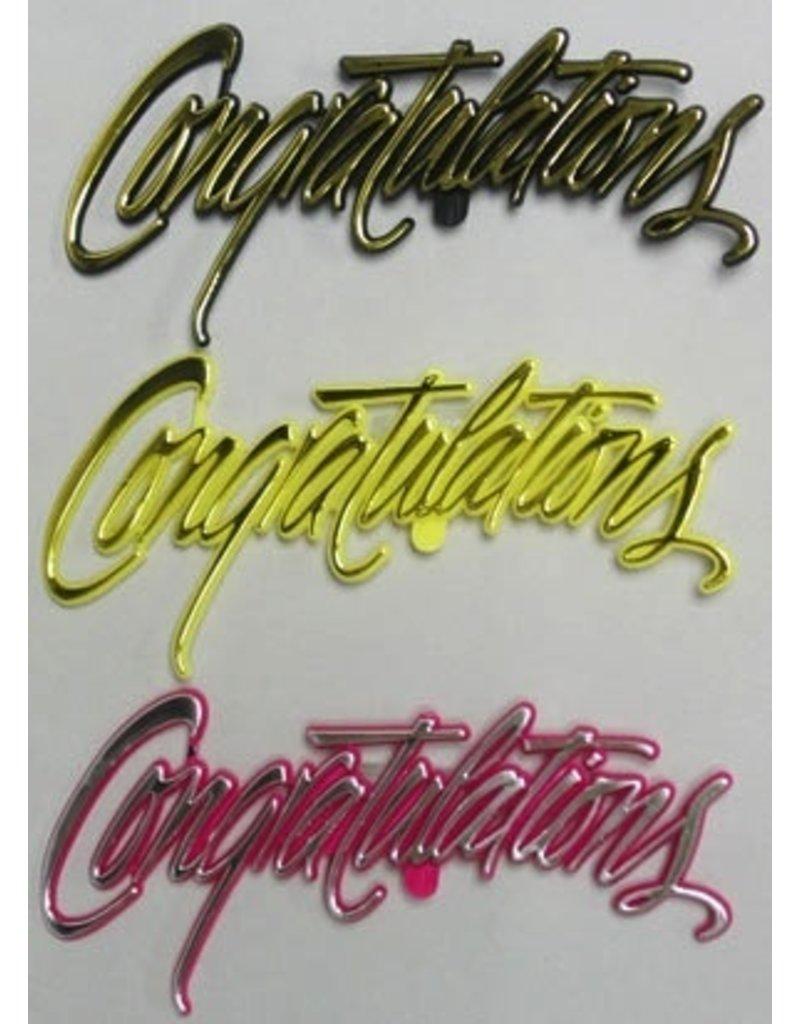 PFEIL & HOLING CONGRATULATIONS FANCY SCRIPT BLK, YELL, PINK 5'' BOX 72 CT