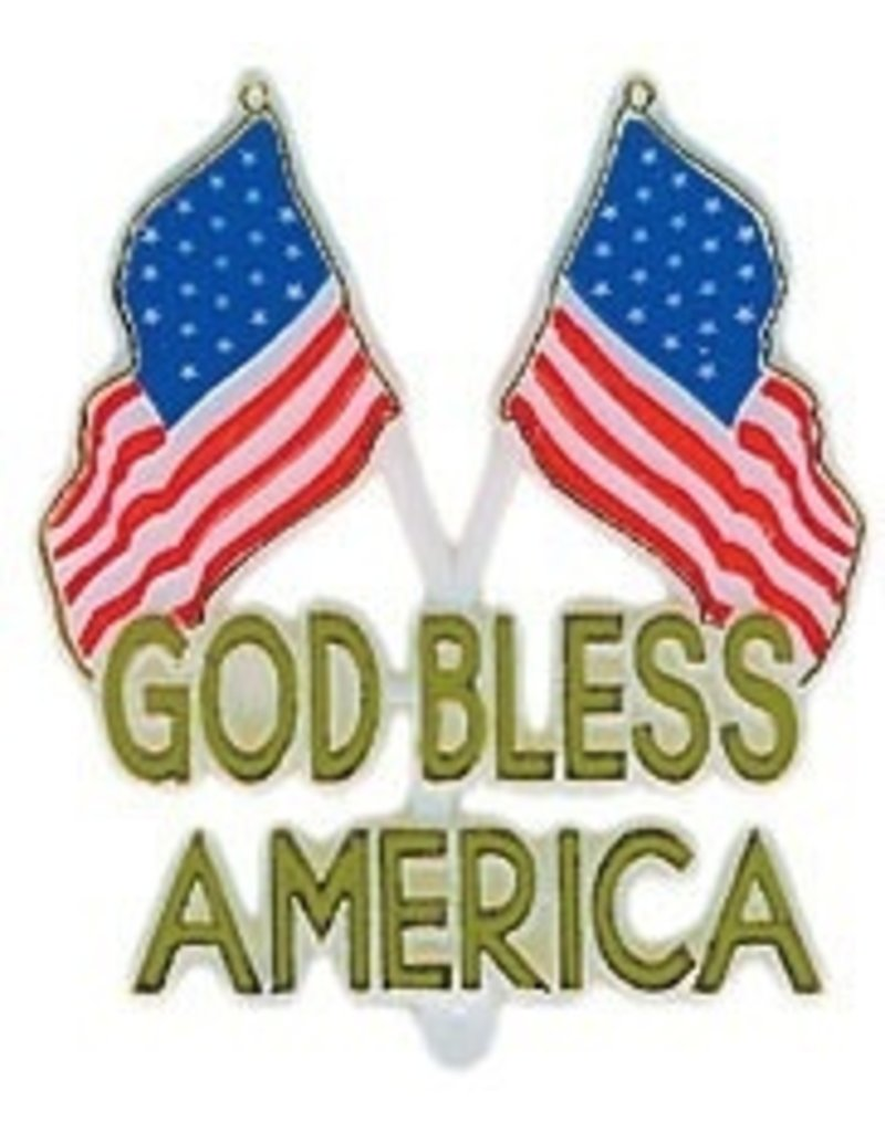 PFEIL & HOLING GOD BLESS AMERICA PLAQUE W/FLAGS  2 1/2'' BOX 48 CT