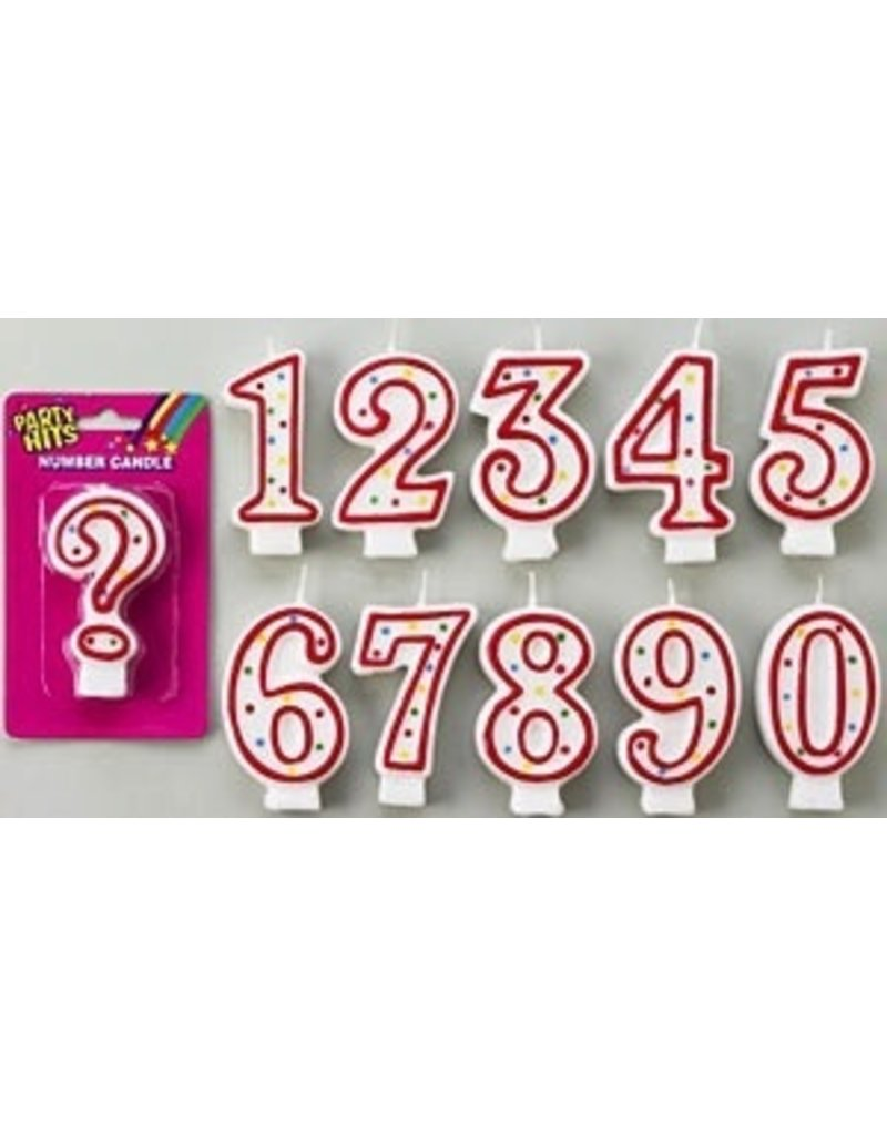 PFEIL & HOLING RED & WHITE NUMERAL #3 CANDLE EA