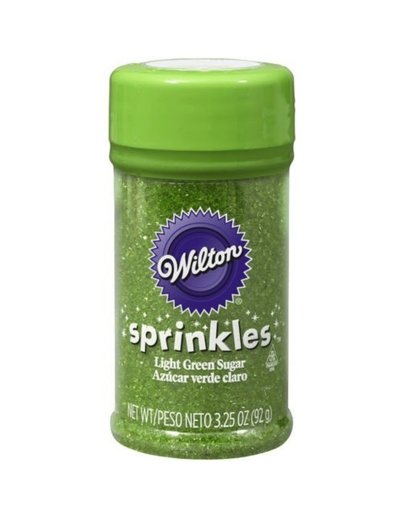 WILTON ENTERPRISES LIGHT GREEN SPRINKLE SUGAR 3.25 OZ EA