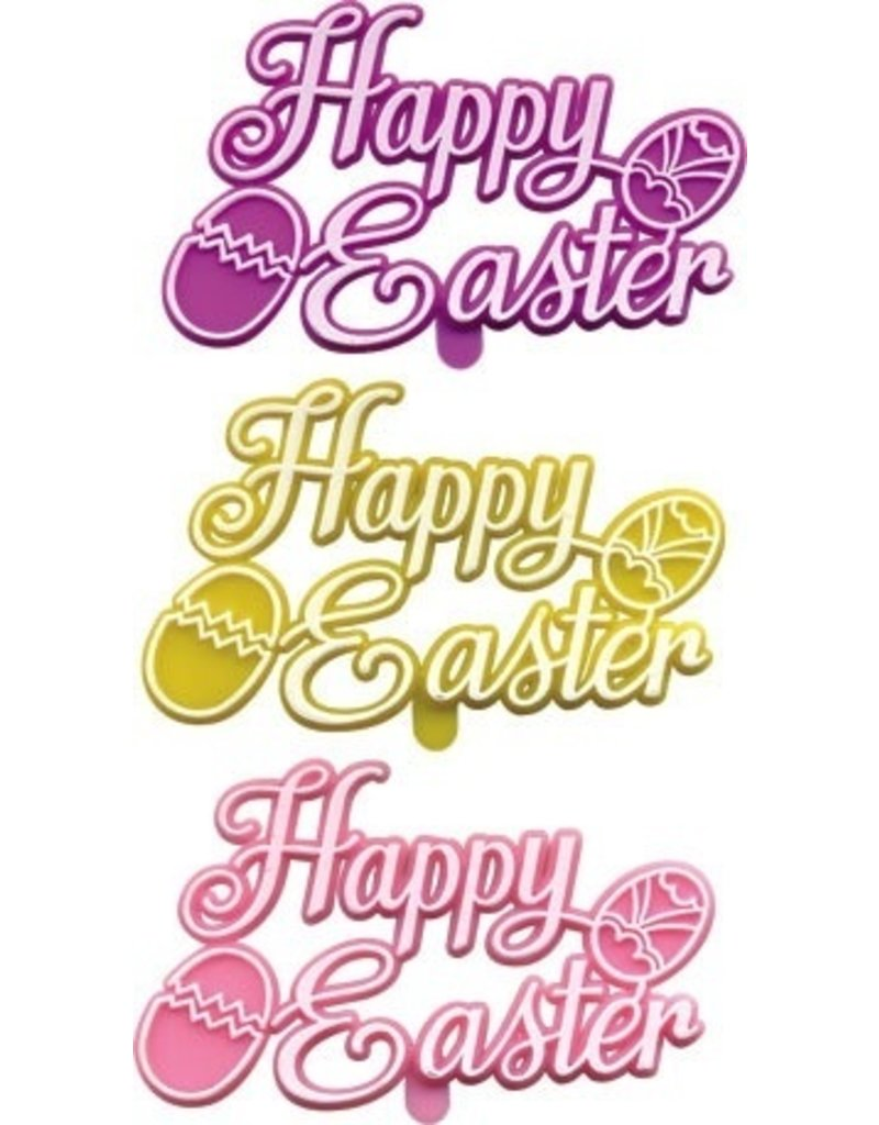PFEIL & HOLING HAPPY EASTER PLAQUE 3'' ASST BOX 48 CT