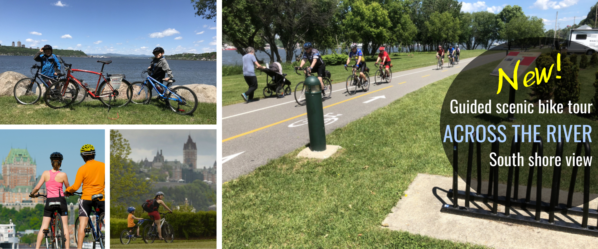 Scenic bike tour in Quebec city across the river