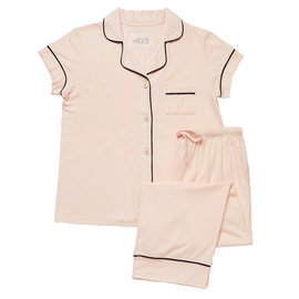 Cat's PJs CPJ 225 Solid Knit Capri PJ Set w/piping